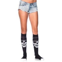 Biker Babe Skeleton Knee High Socks - One Size