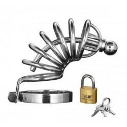 Asylum 6 Ring Locking Chastity Cage - Medium-large