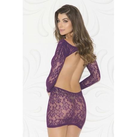 Open Back Long Sleeve Chemise - One Size - Purple