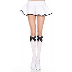 Satin Bow Knee Hi - One Size - White / Black