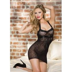 Stretch Leopard Patterned Stretch Lace Chemise - Black - One Size