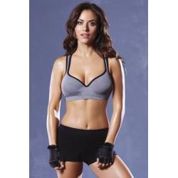 Strike Lace Back Sports Bra - Heather Grey/black - Medium