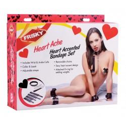 Heartache 5 Piece Heart Accented Bondage Set