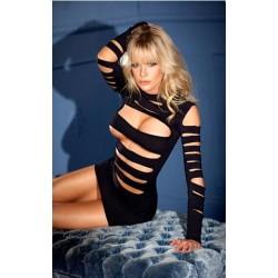 Long Sleeve Mini Dress - Black - One Size