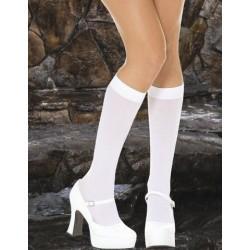 White Opaque Knee High Stockings