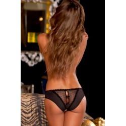 Crotchless Frills Panty - Black - Medium / Large