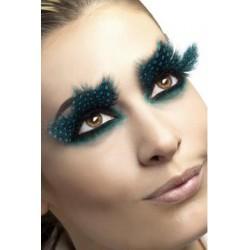 Large Aqua Dots Feather Eyelashes