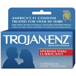 Trojan Enz Spermicidal Lubricant condoms - 12 Pack TJ93252